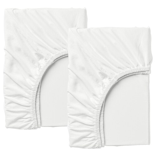 LEN fitted sheet f/extend bed, set of 2 white