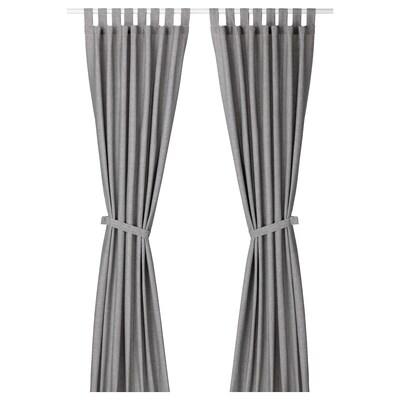"LENDA Curtains with tie-backs, 1 pair, gray, 55x98 """
