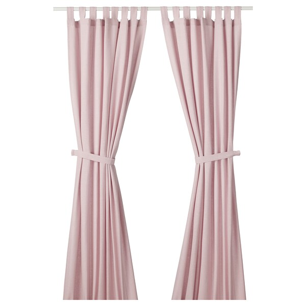 "LENDA Curtains with tie-backs, 1 pair, light pink, 55x98 """