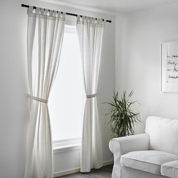LENDA Curtains with tie-backs, 1 pair, white, 55x98 ""