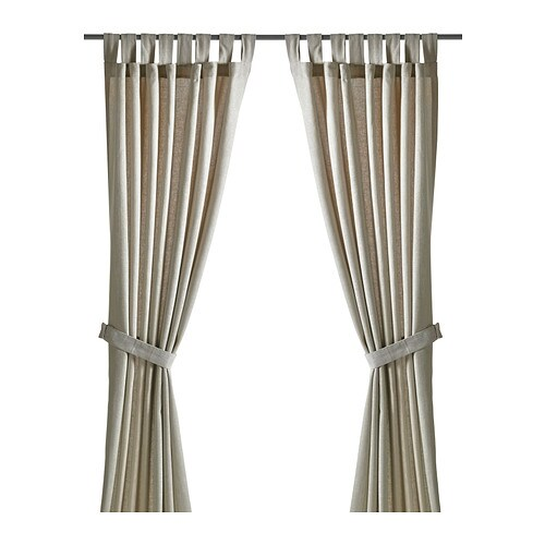 LENDA Curtains with tie-backs, 1 pair   The curtains let the daylight through but reduce direct sunlight.