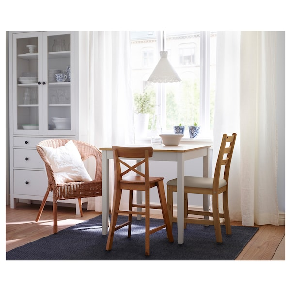 "LERHAMN Table, light antique stain/white stain, 29 1/8x29 1/8 """