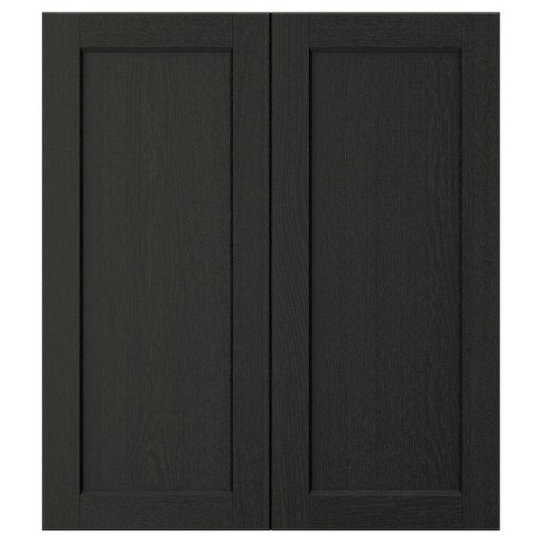 "LERHYTTAN 2-p door/corner base cabinet set black stained 13 1/4 "" 30 "" 13 "" 29 7/8 "" 3/4 """