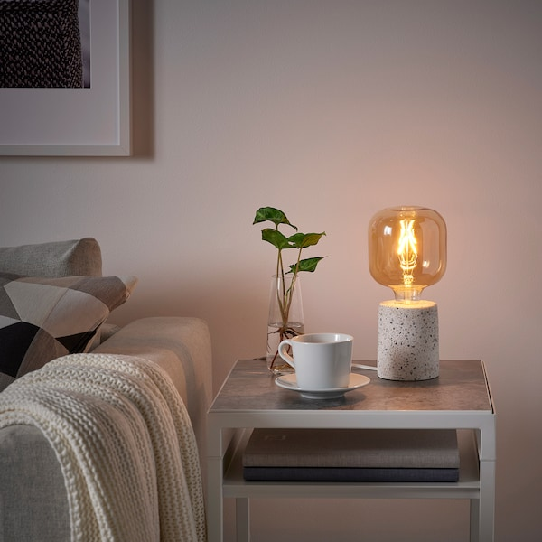 LERSKIFFER / LUNNOM Table lamp with LED bulb, terrazzo effect/white