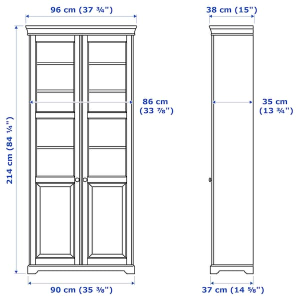 LIATORP Bookcase with glass doors, white, 37 3/4x84 1/4 ""