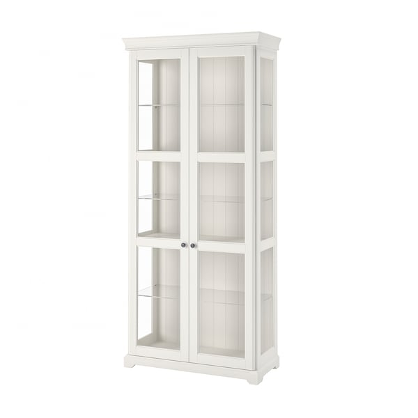 "LIATORP glass-door cabinet white 37 3/4 "" 16 1/2 "" 84 1/4 "" 106 lb 35 lb 4 oz"