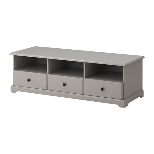 LIATORP TV bench   Smooth-running drawers with drawer stops to keep them in place.