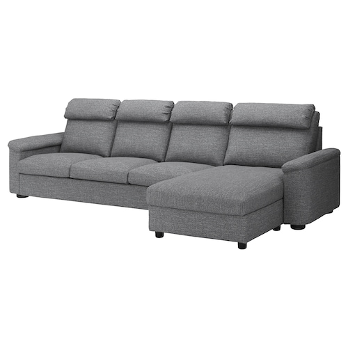 "LIDHULT sectional, 4-seat with chaise/Lejde gray/black 40 1/8 "" 29 1/8 "" 64 5/8 "" 137 3/8 "" 38 5/8 "" 50 3/8 "" 2 3/4 "" 118 1/2 "" 20 7/8 "" 17 3/4 """