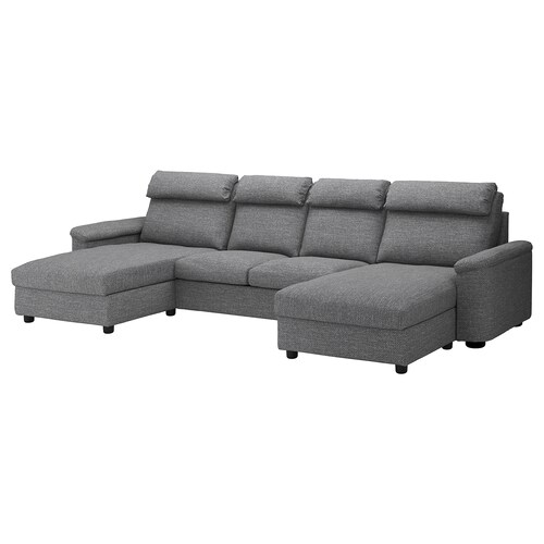 "LIDHULT sectional, 4-seat with chaise/Lejde gray/black 40 1/8 "" 29 7/8 "" 64 5/8 "" 145 1/4 "" 38 5/8 "" 47 1/4 "" 2 3/4 "" 126 3/8 "" 20 7/8 "" 17 3/4 """