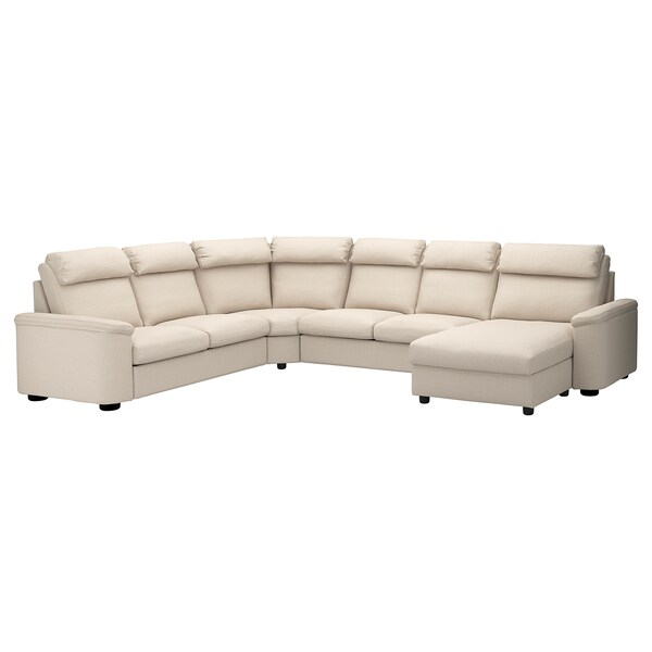 LIDHULT Sectional, 5-seat, with chaise/Gassebol light beige