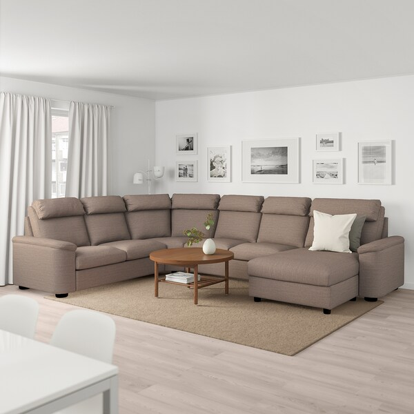 LIDHULT Sectional, 5-seat, with chaise/Lejde beige/brown