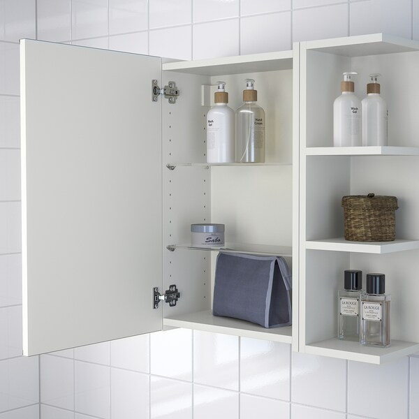 LILLÅNGEN Mirror cabinet 1 door/2 end units - white - IKEA