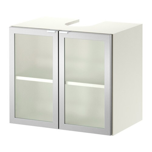 Sink Base : LILL?NGEN Sink base cabinet with 2 doors - white/aluminum - IKEA