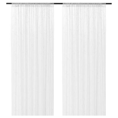 "LILLEGERD Sheer curtains, 1 pair, white leaves, 57x98 """