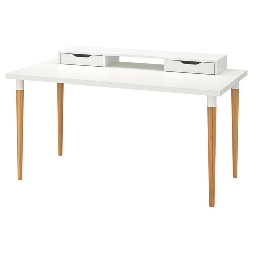 "LINNMON / HILVER table white/bamboo 59 "" 29 1/2 "" 33 1/2 """