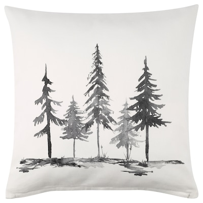 LJUSMOTT Cushion cover, black/tree, 20x20 ""