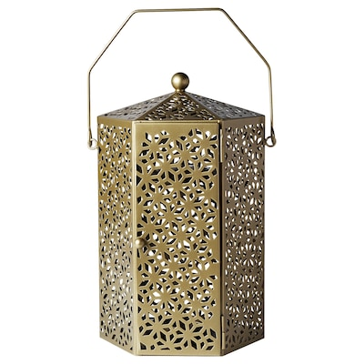 LJUVARE Lantern for block candle, gold-colour, 13 ""