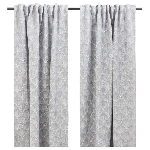 "LOPPÖRT Room darkening curtains, 1 pair, stripe/gray, 57x98 """