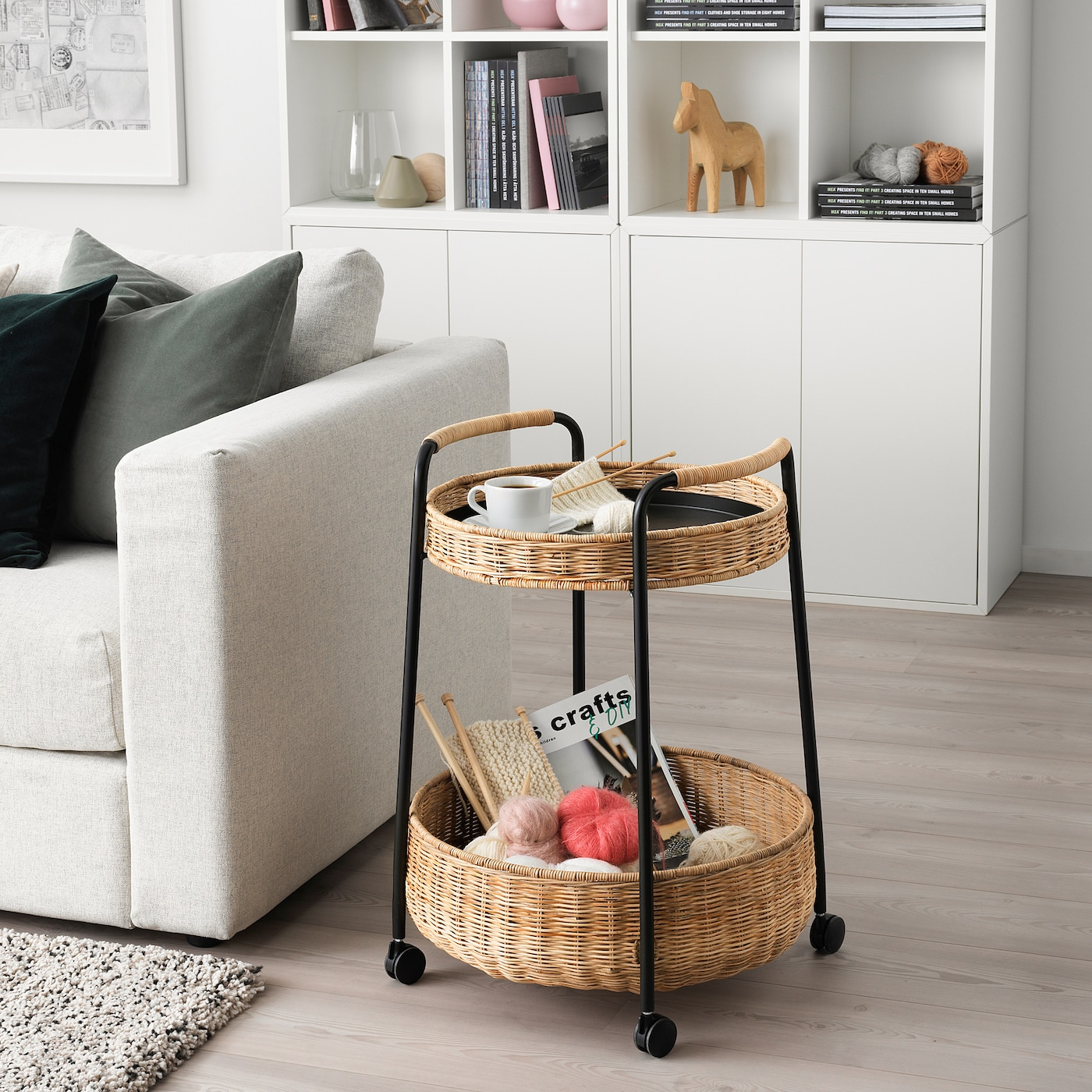 LUBBAN Serving cart with storage, rattan/anthracite