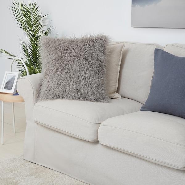 "LUGGMAL Cushion cover, gray/faux fur, 20x20 """