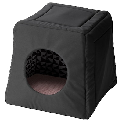 LURVIG Cat bed with pad, black white/pink, 15x15x14 5/8 ""