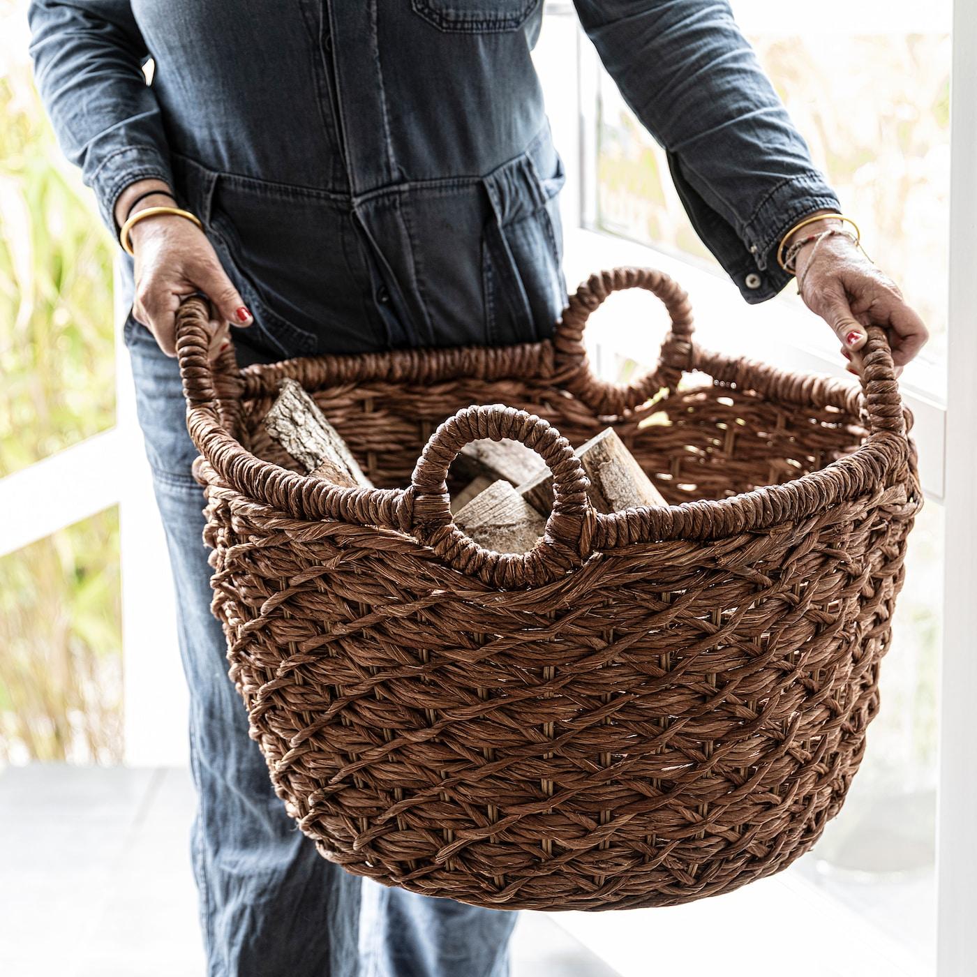"LUSTIGKURRE Basket, brown/nipa palm, 22 ½x22 ½x15 ¾ """