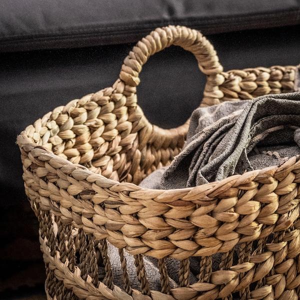"LUSTIGKURRE Basket, natural water hyacinth/seagrass, 13x18x14 ½ """