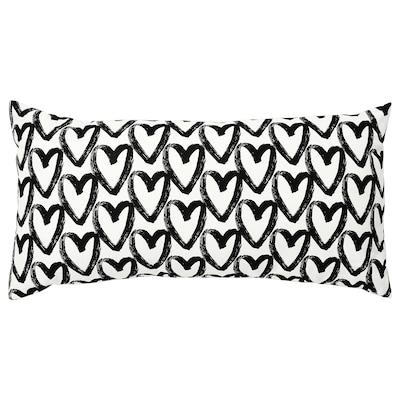 "LYKTFIBBLA Cushion, white/black, 12x23 """