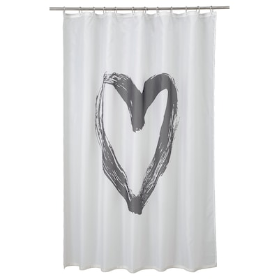 "LYKTFIBBLA shower curtain white/gray 0.20 oz/sq ft 71 "" 71 "" 34.88 sq feet"