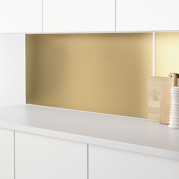 """LYSEKIL Wall panel, double sided brass color/stainless steel color, 48x19 """""""