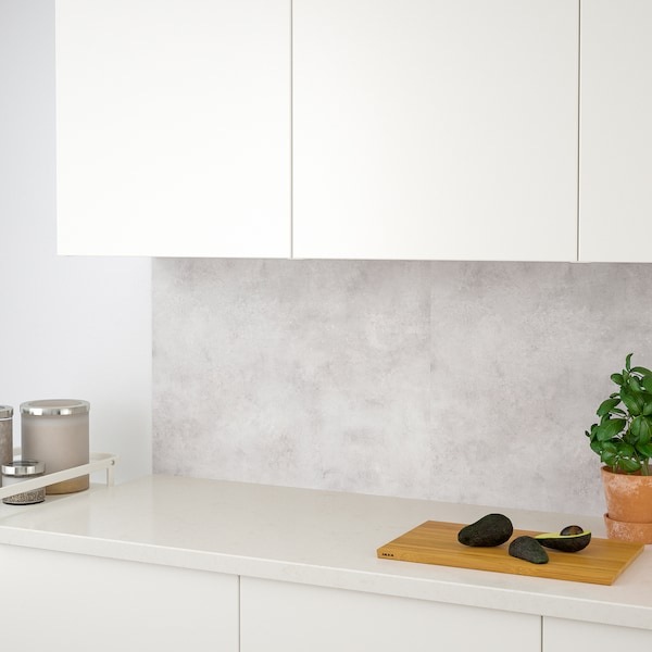 LYSEKIL Wall panel, double sided white/light gray concrete effect, 48x19 ""