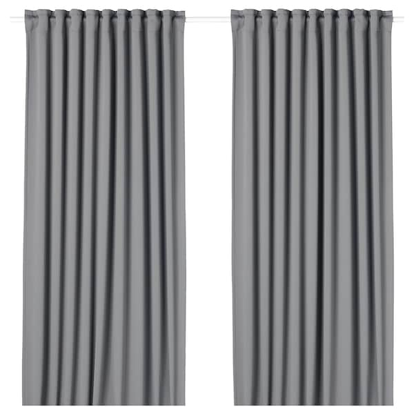 MAJGULL Blackout curtains, 1 pair, gray, 57x98 ""