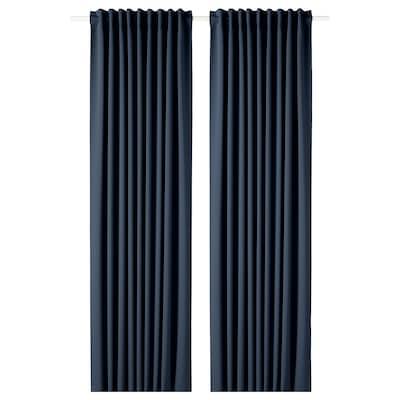 """MAJGULL blackout curtains, 1 pair dark blue 98 """" 57 """" 4 lb 7 oz 39.07 sq feet 2 pack"""