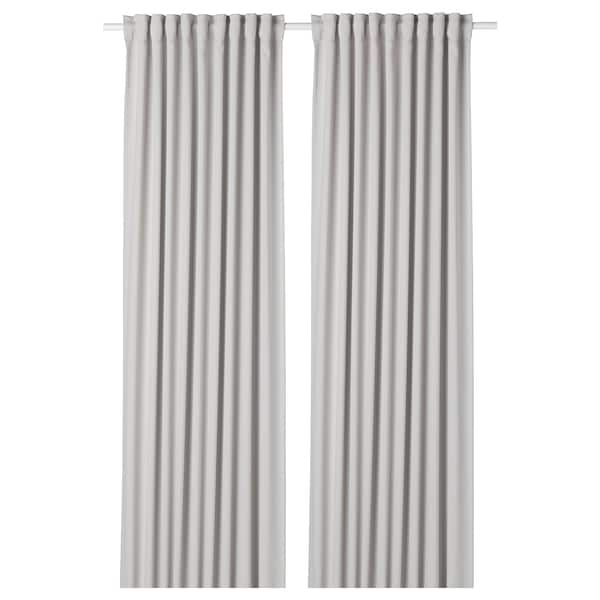 MAJGULL Room darkening curtains, 1 pair, light gray, 57x98 ""