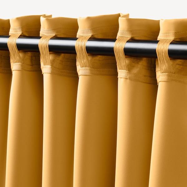 """MAJGULL Room darkening curtains, 1 pair, yellow, 57x98 """""""