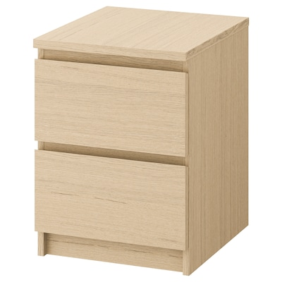 """MALM 2-drawer chest, white stained oak veneer, 15 3/4x21 5/8 """""""