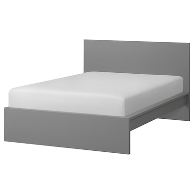 MALM Bed frame, high, gray stained/Luröy, Full
