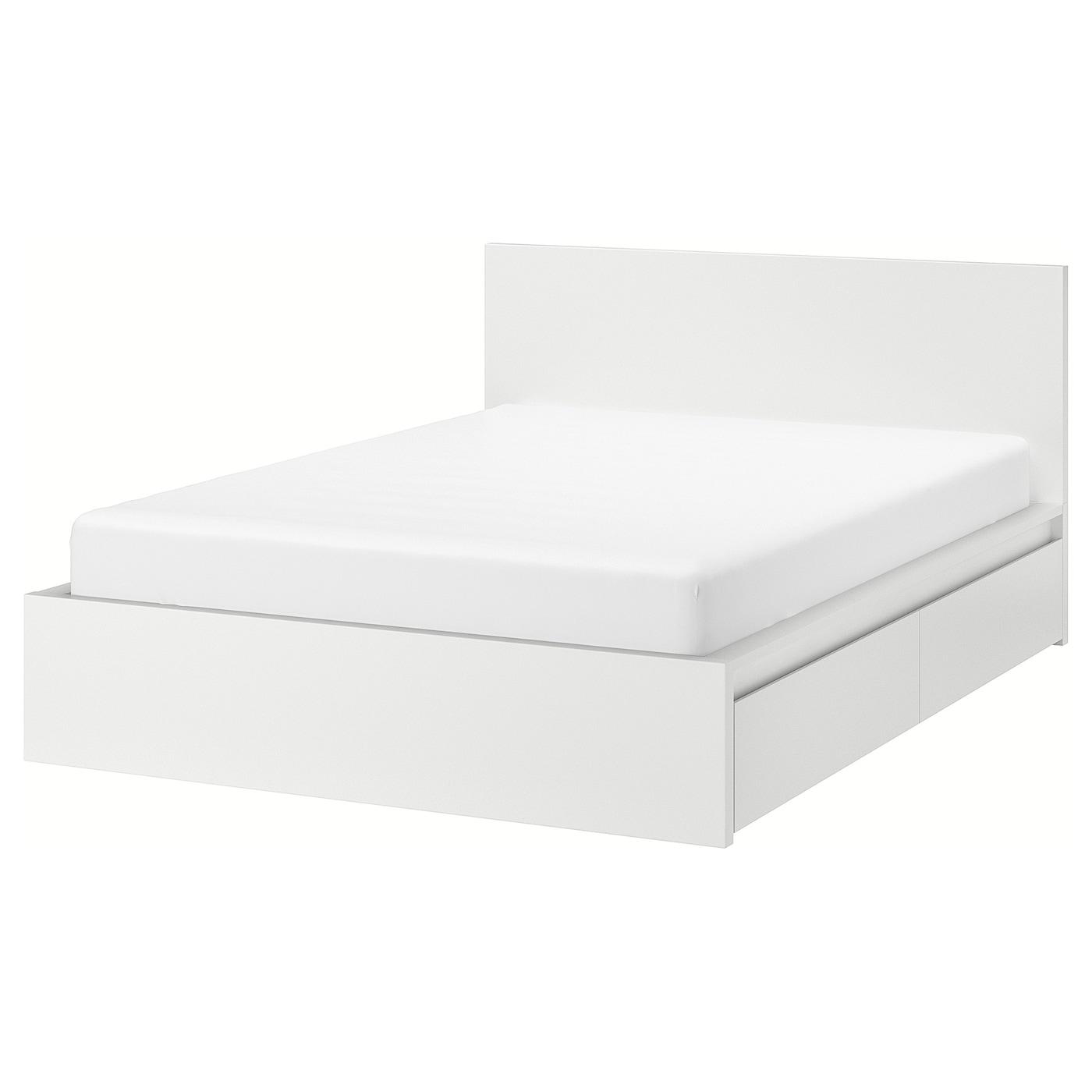 Ikea MALM High bed frame/4 storage boxes, white, LuröyFull