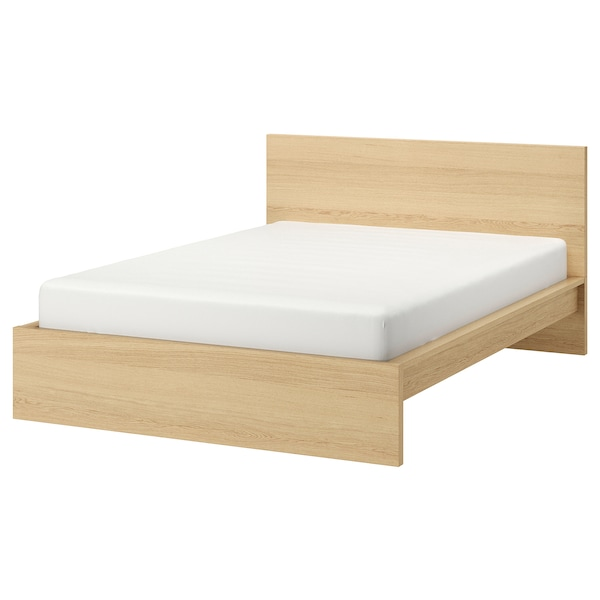 "MALM bed frame, high white stained oak veneer/Luröy 83 1/8 "" 66 1/8 "" 15 "" 39 3/8 "" 79 1/2 "" 59 7/8 """