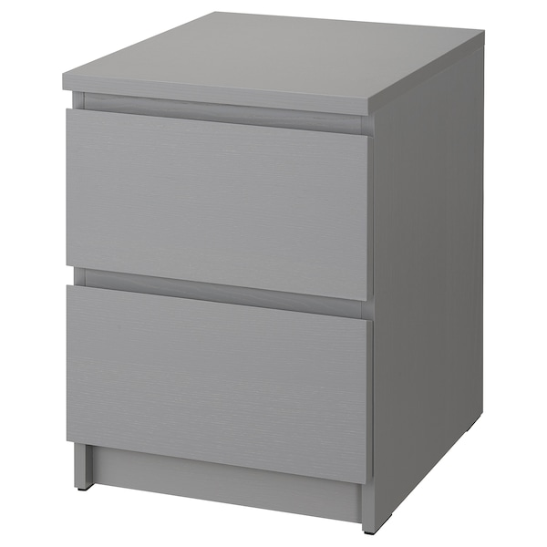 """MALM 2-drawer chest gray stained 15 3/4 """" 18 7/8 """" 21 5/8 """" 12 5/8 """" 16 7/8 """""""