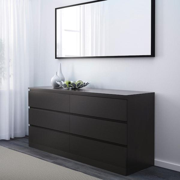 "MALM 6-drawer dresser black-brown 63 "" 18 7/8 "" 30 3/4 "" 16 7/8 """