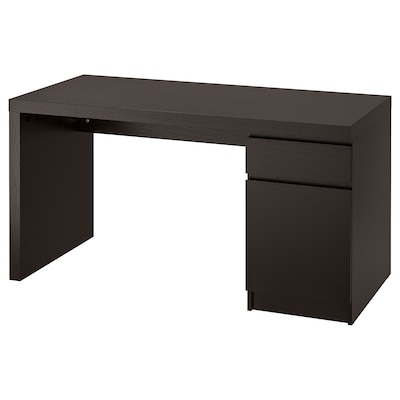 MALM Desk, black-brown, 55 1/8x25 5/8 ""