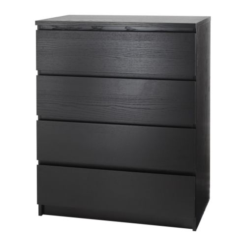 MALM 4-drawer chest   Real wood veneer will make this chest of drawers age gracefully.  Smooth running drawers with pull-out stop.