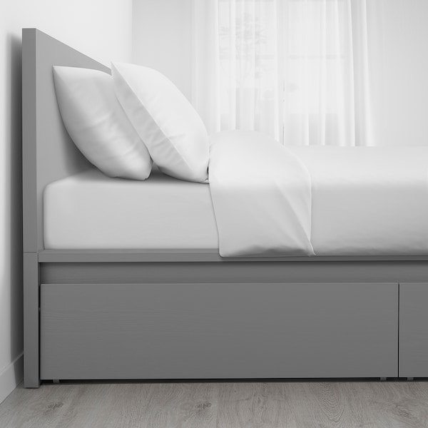 MALM High bed frame/2 storage boxes, gray stained, Queen