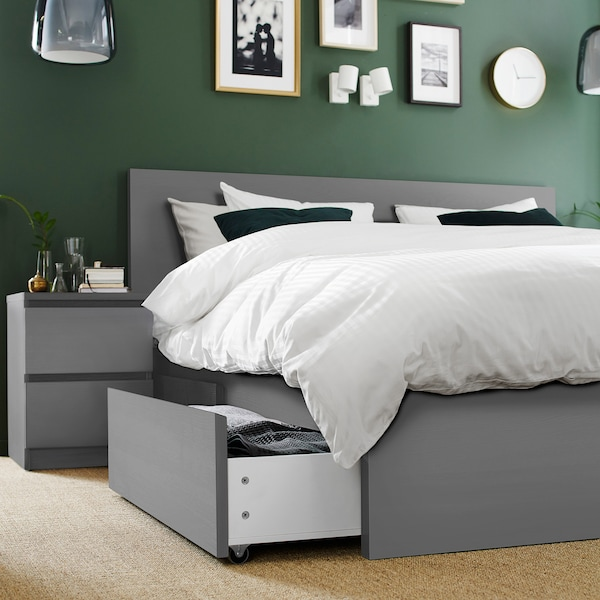 MALM High bed frame/4 storage boxes, gray stained/Luröy, Queen