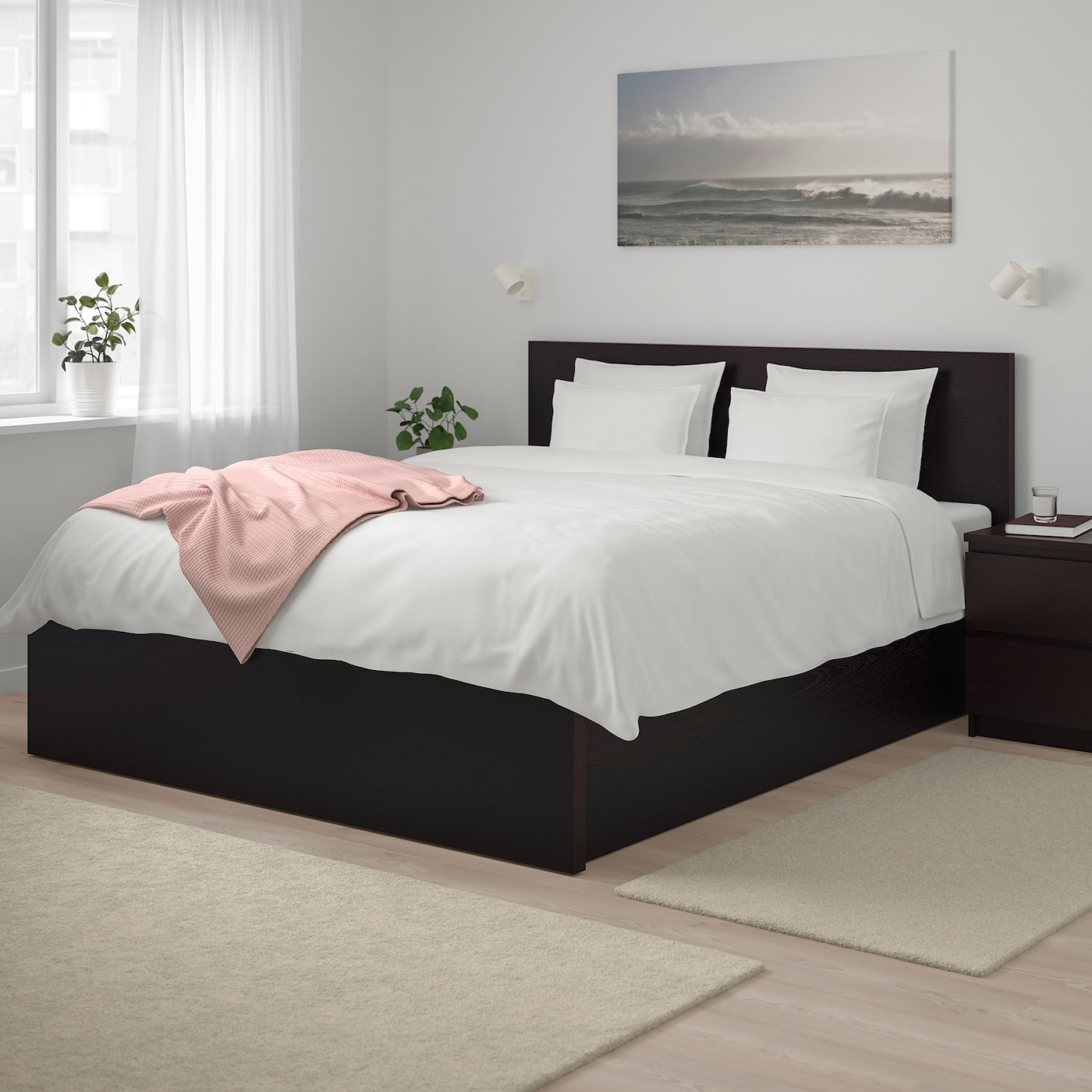 MALM Pull up storage bed - black-brown Queen