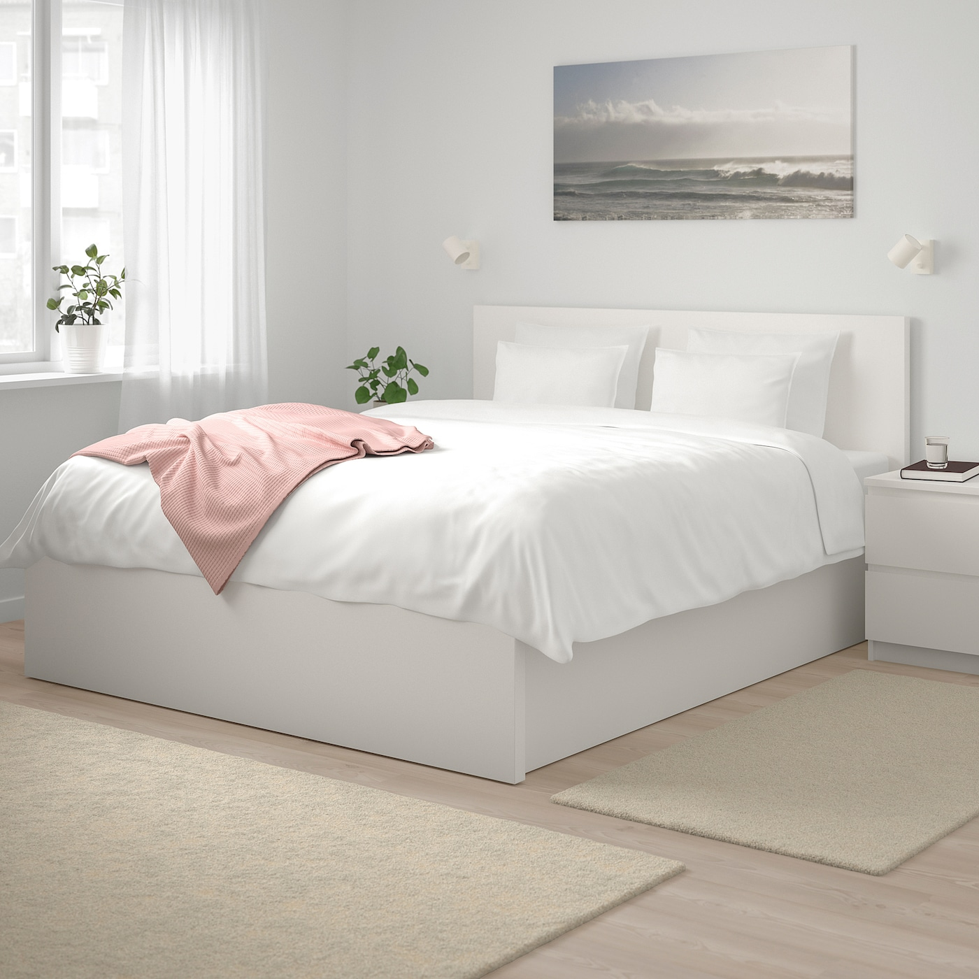 MALM Pull up storage bed - white Queen