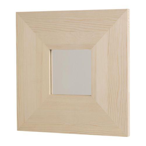"MALMA Mirror, pine Length: 10 "" Width: 10 "" Thickness: 1/2 ""  Length: 25.5 cm Width: 25.5 cm Thickness: 1 cm"