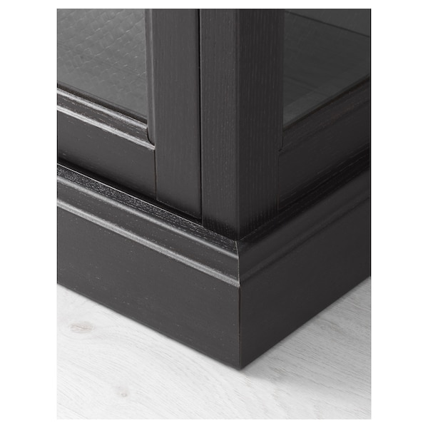 MALSJÖ Glass-door cabinet, black stained, 40 1/2x18 7/8x55 1/2 ""
