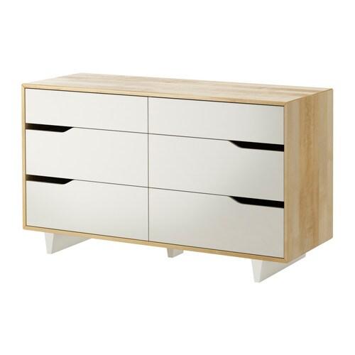 "MANDAL 6-drawer dresser, birch, white Width: 54 3/4 "" Depth: 18 7/8 "" Height: 31 1/8 ""  Width: 139 cm Depth: 48 cm Height: 79 cm"